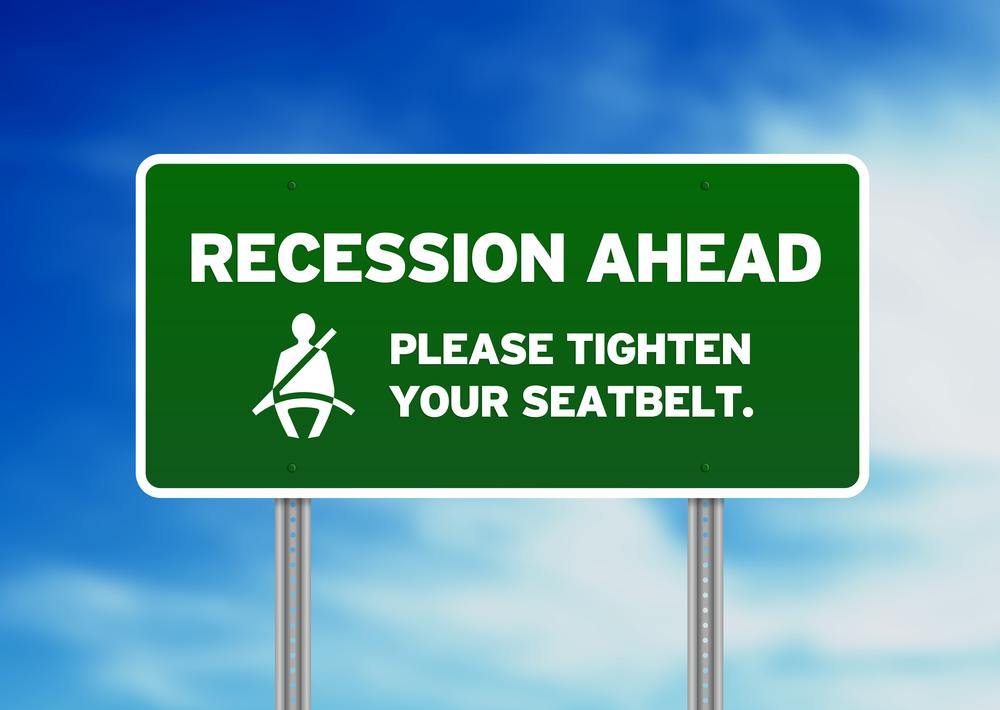 Green Road Sign - Recession Ahead